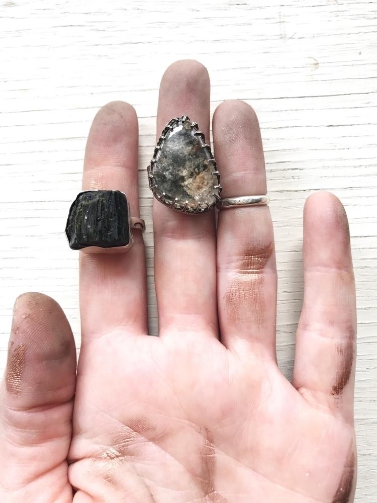 raw Epidote Lodolite rings Etsy - floraandfauuna | ello