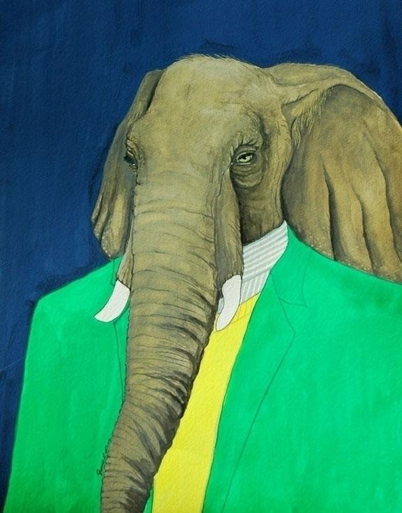 Elephant, gouache watercolor pa - jamieluoto | ello