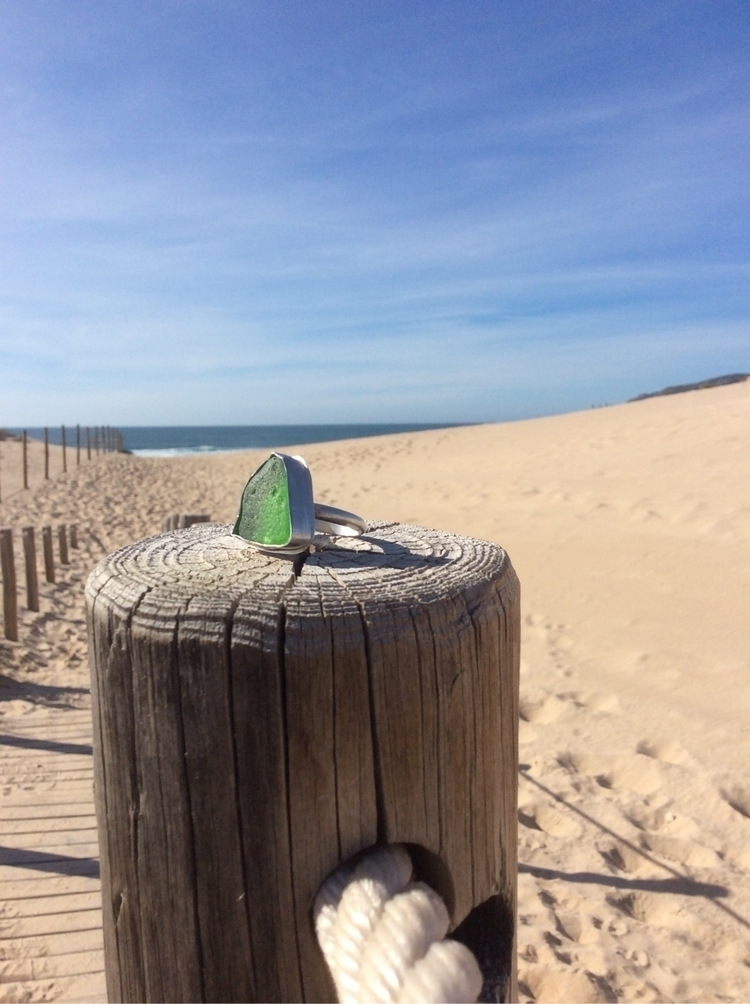 Green seaglass ring beautiful w - tantomar | ello