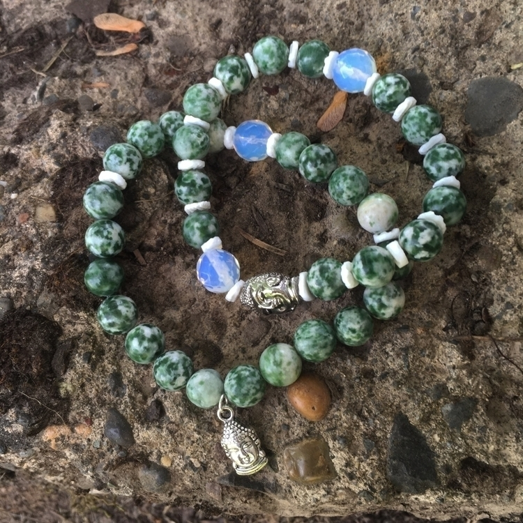 Green Tree Agate Stretchy stack - gypsyxjewels | ello