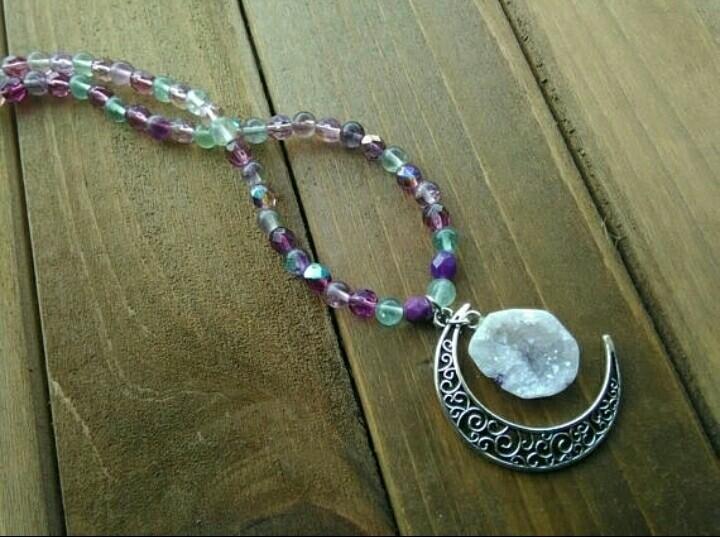 Moon Necklace $28 - fluorite, geode - fairywitchcreations | ello