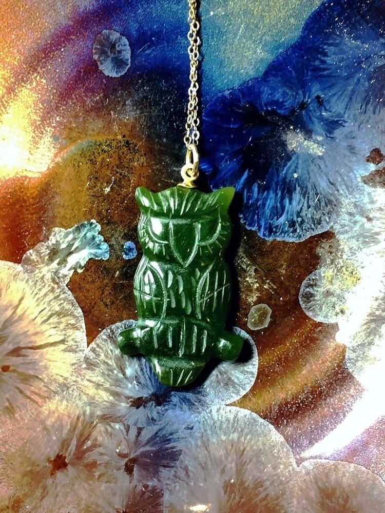 Vintage Jade Owl 14k chain - blvkkitsune | ello