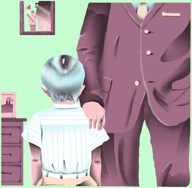 Falling uphill podacst-Father - illustration - richchane | ello