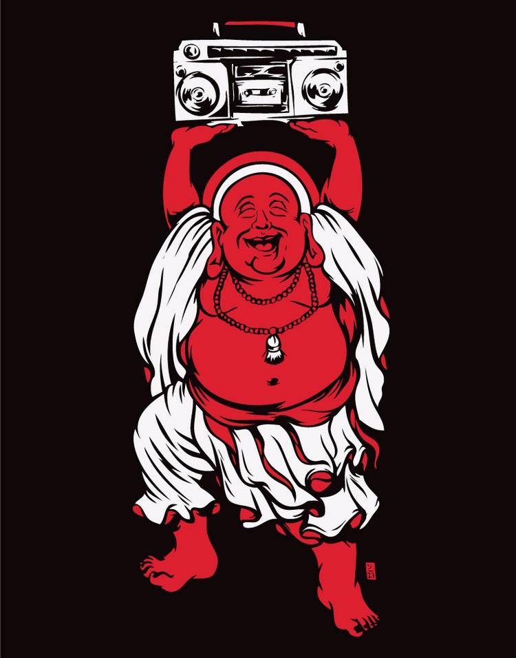 Buddha Beats 2c - illustration - thomcat23   ello