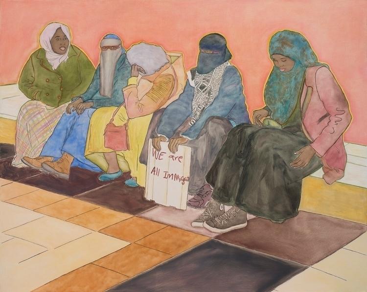 painting, Immigrants, oil linen - malaykagormally | ello