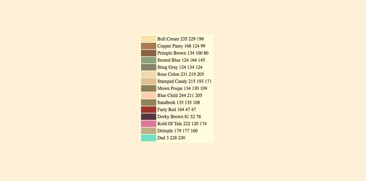 AI Created Named Paint Colors,  - valosalo | ello