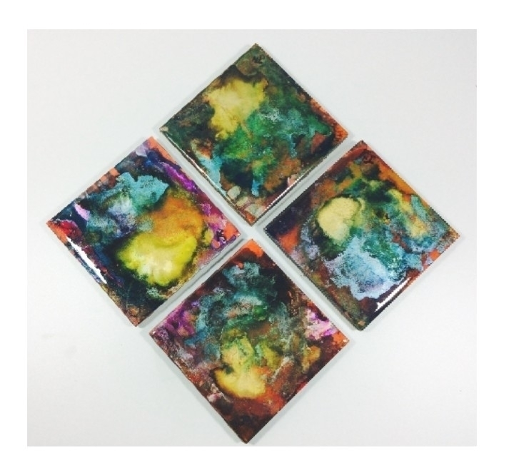 hand painted tile coasters - ateliercrafers | ello