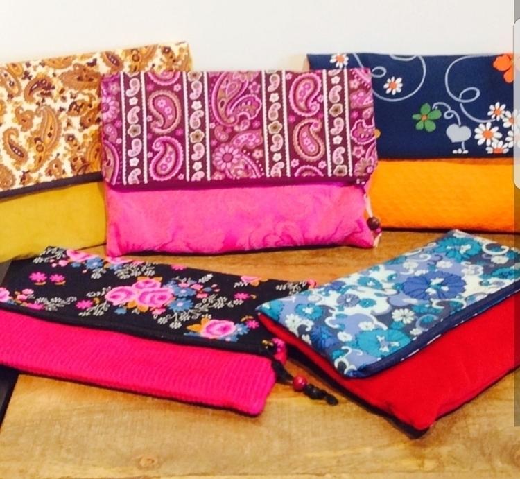 vintage fabric fold clutches - ateliercrafers | ello