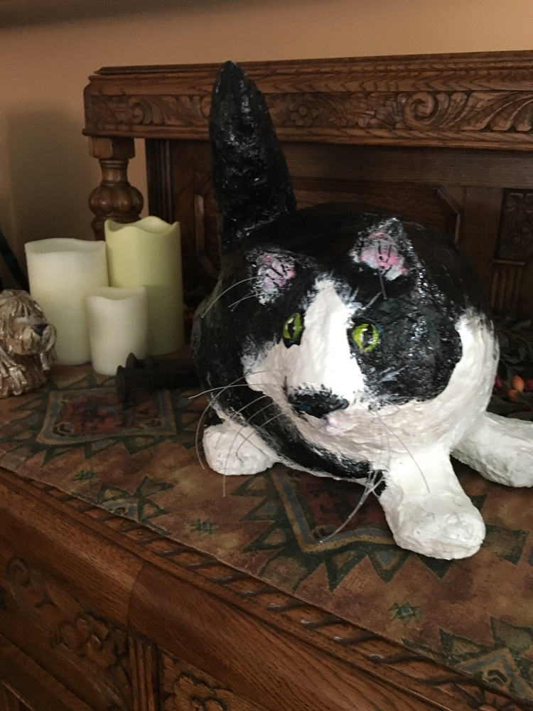 Cat Scuputure - fun paper mache - desertnightsstudio | ello