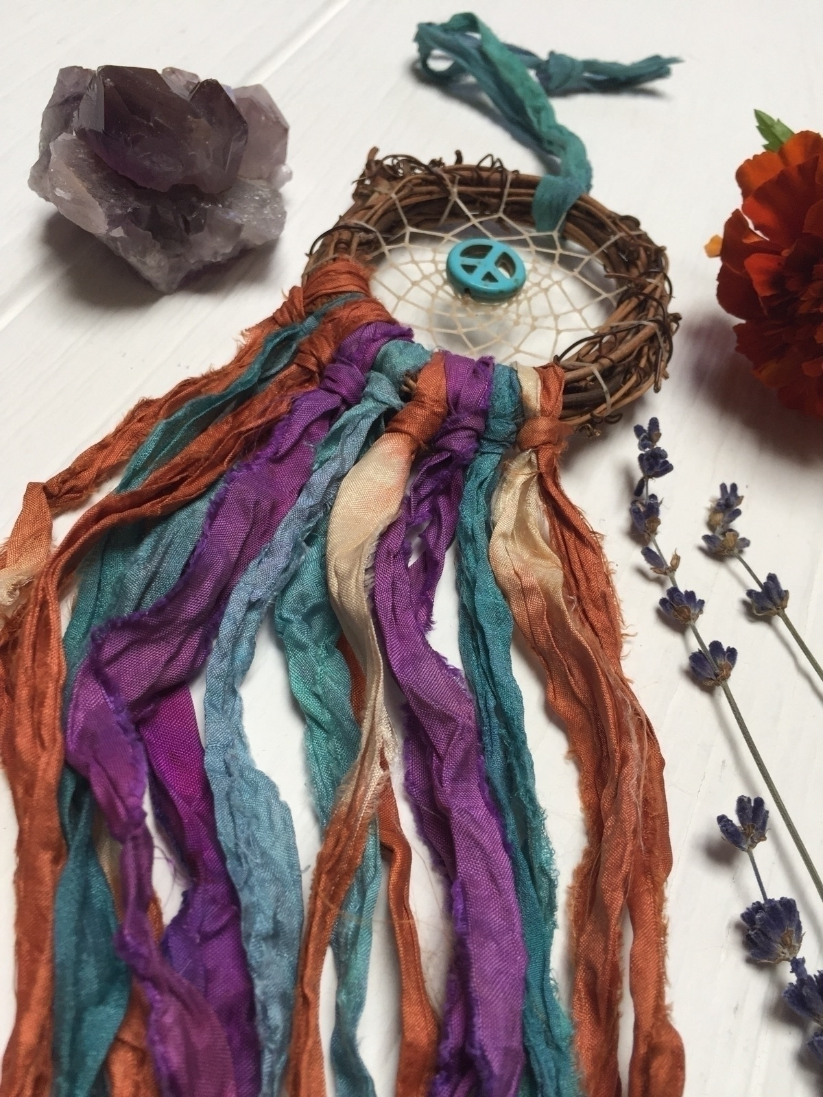 Gorgeous sari silk dreamcatcher - theforagingfairy | ello