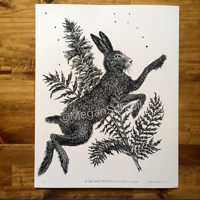 chase hare, catch 11x14 giclee  - meganschrollart | ello