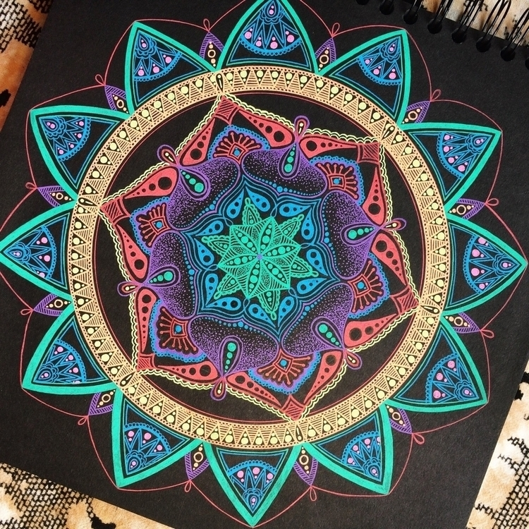 Neon Mandala Black - mandala, art - vesicadesigns | ello