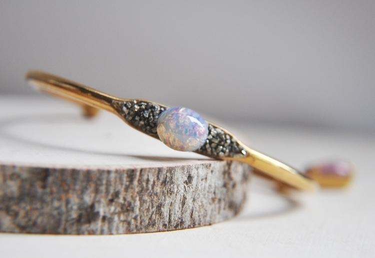 pyrite, crystals, opalite, cuff - fawinginlove | ello