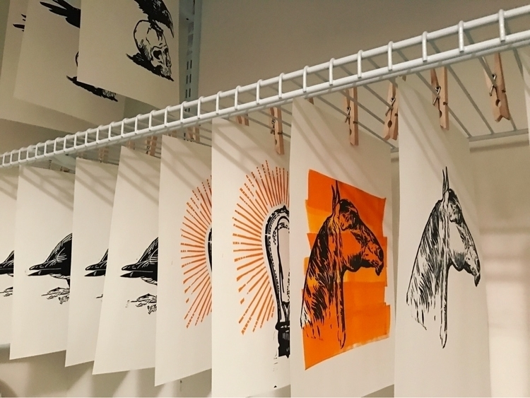 Prints drying - art, linocut, linoprint - joshuatreeprintpress | ello