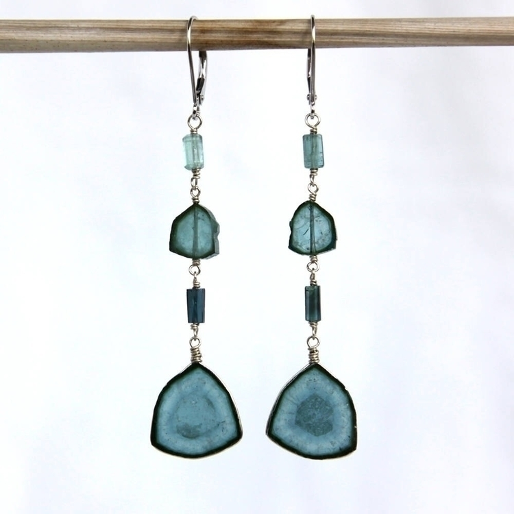 blue tourmaline earrings white  - jenvolkodavdesigns | ello