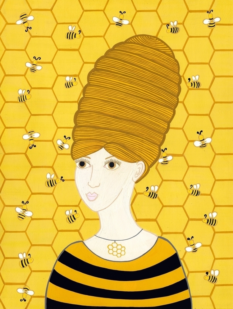 Beehive | series nature hair Re - carolinewillustration | ello