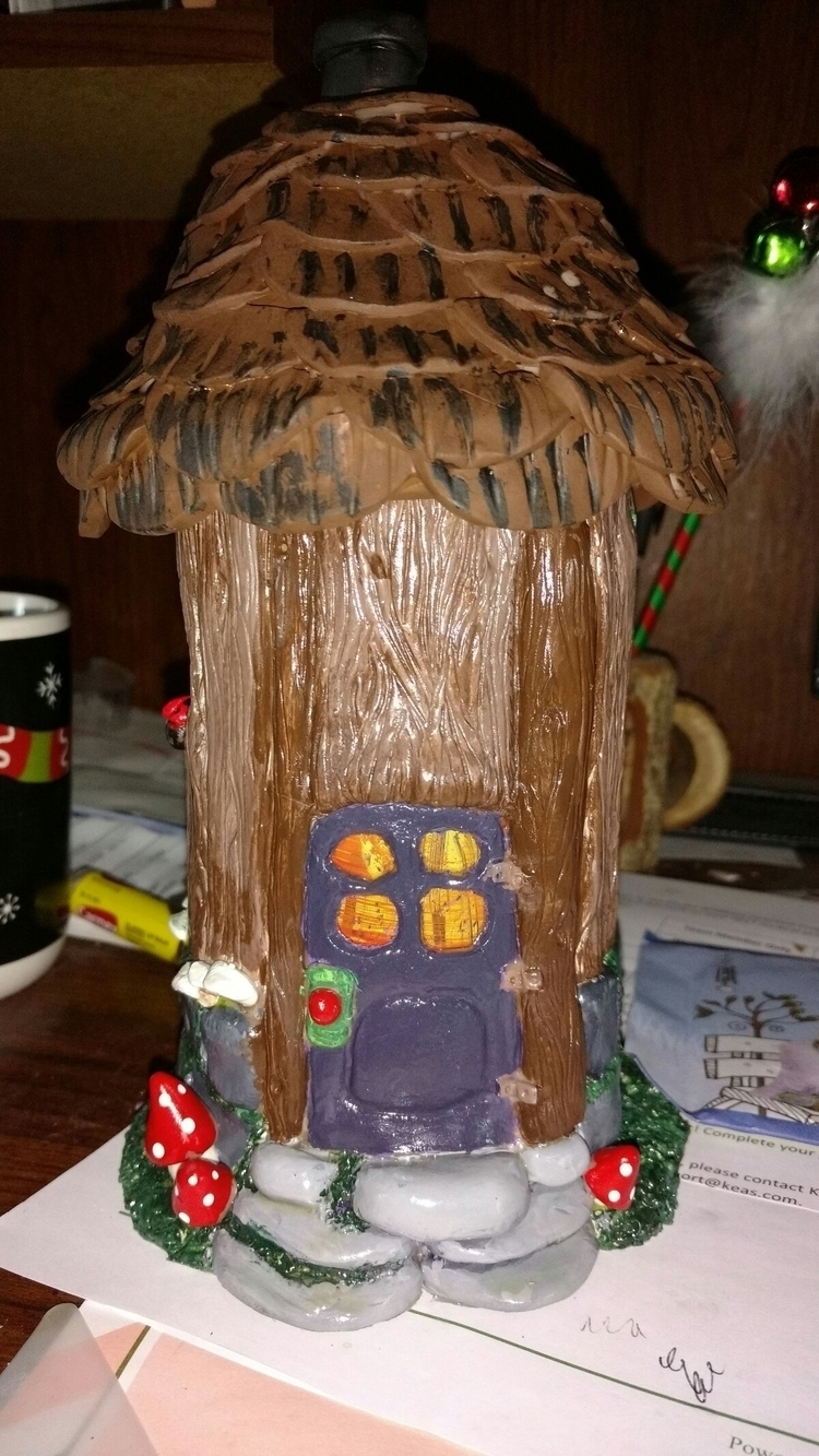 fairy house polymer clay painte - crittlescreations | ello