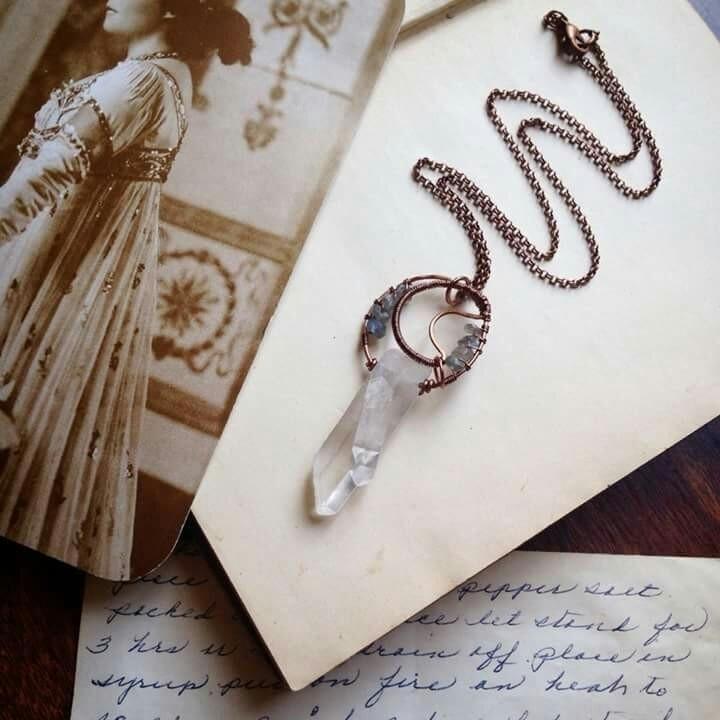 quartz moon necklace - whimsical_stone | ello