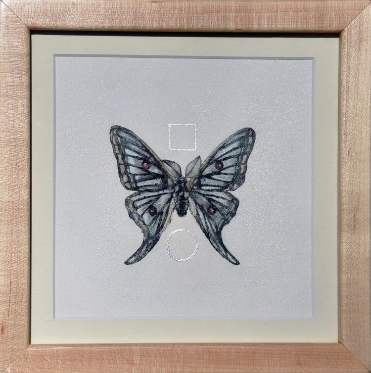 Framed Luna Moth Silver Leaf Me - alexakarabin   ello