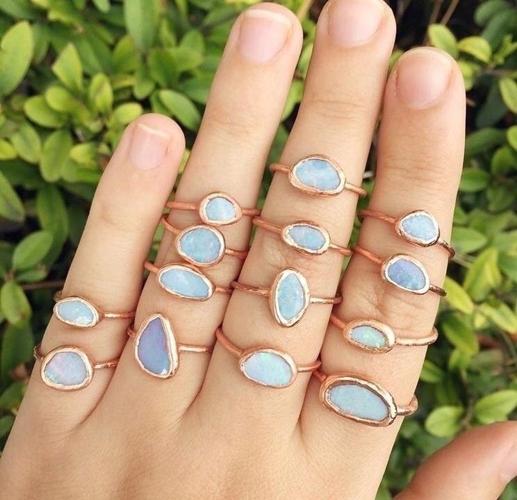 Blue Australian Opal rings - crystallove - stoneandspirit | ello