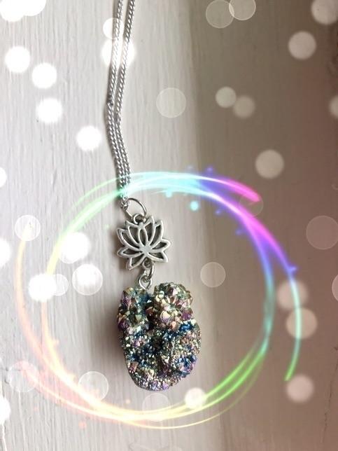 Natural Druzy Stone Lotus Charm - moonify_ | ello