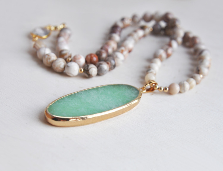 agate, green, aventurine, necklace - fawinginlove | ello