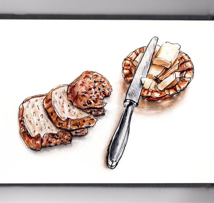 Bread Butter - watercolor, watercolour - doodlewash | ello
