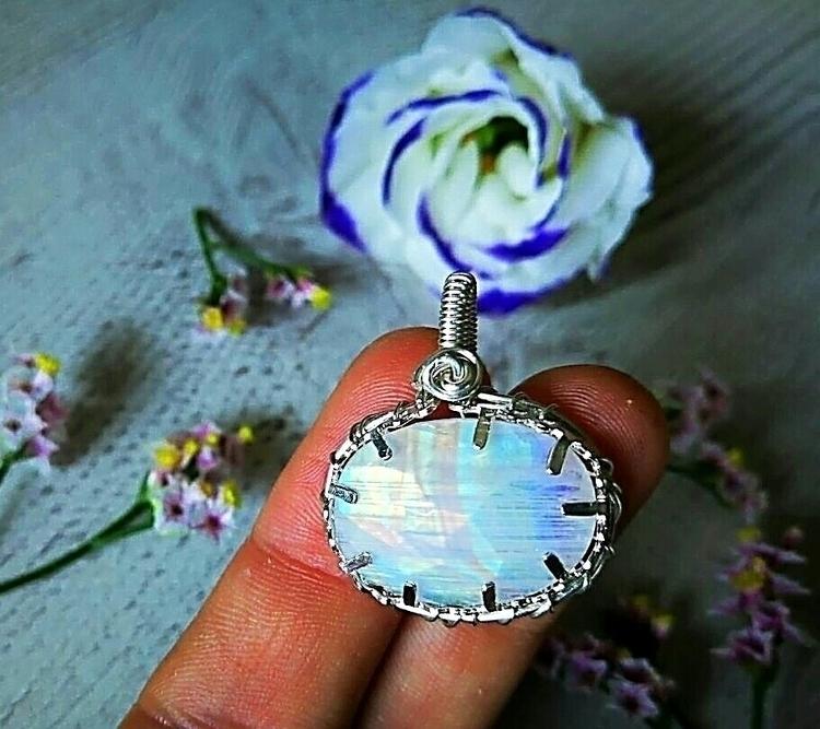 keeping faced rainbow moonstone - handmadejewelsbyfede | ello