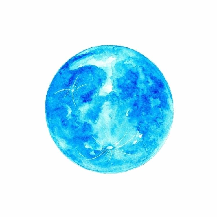 Blue moon ♡ - blue, watercolour - moonflux_studio | ello