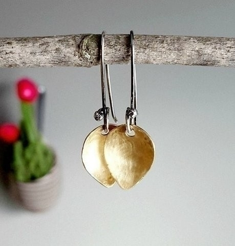 Natural Brass Sterling Petal Ea - stormynitedesigns | ello