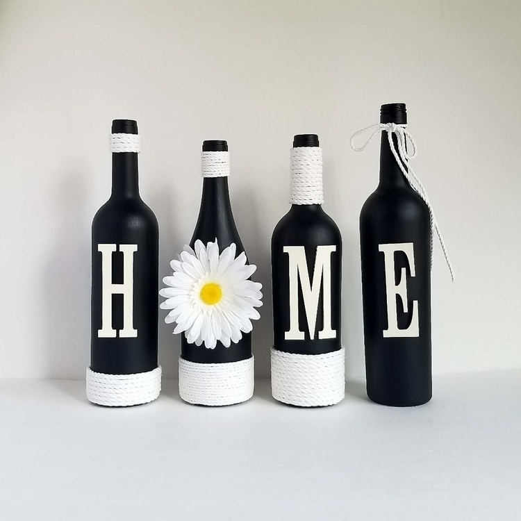 Black white recycled wine bottl - thisuniquehome | ello