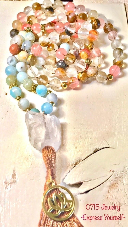 Chunky Quartz Mala Lotus charm - 0715jewelry | ello