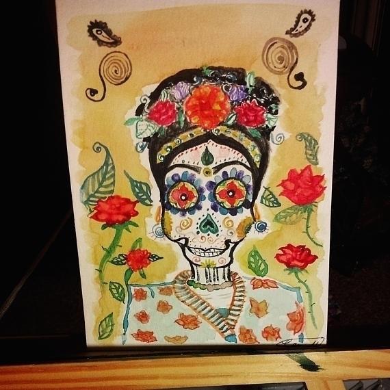 Small OOAK watercolor Catrina p - mintroyaleshop | ello