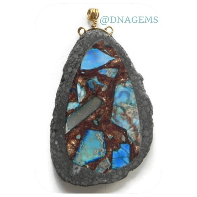 Pyrite pendant fancy map jasper - dnagems | ello