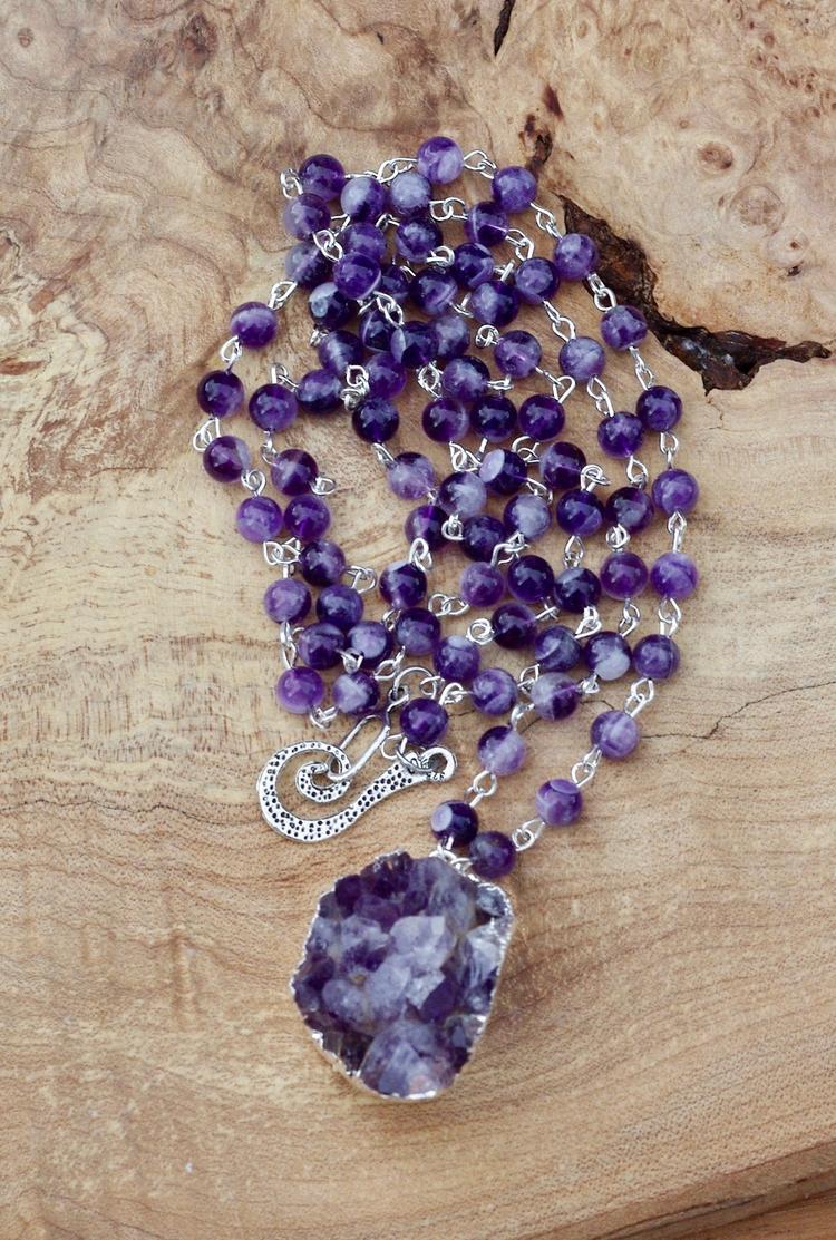 Amethyst druzy stone pendant ne - audacitywear | ello