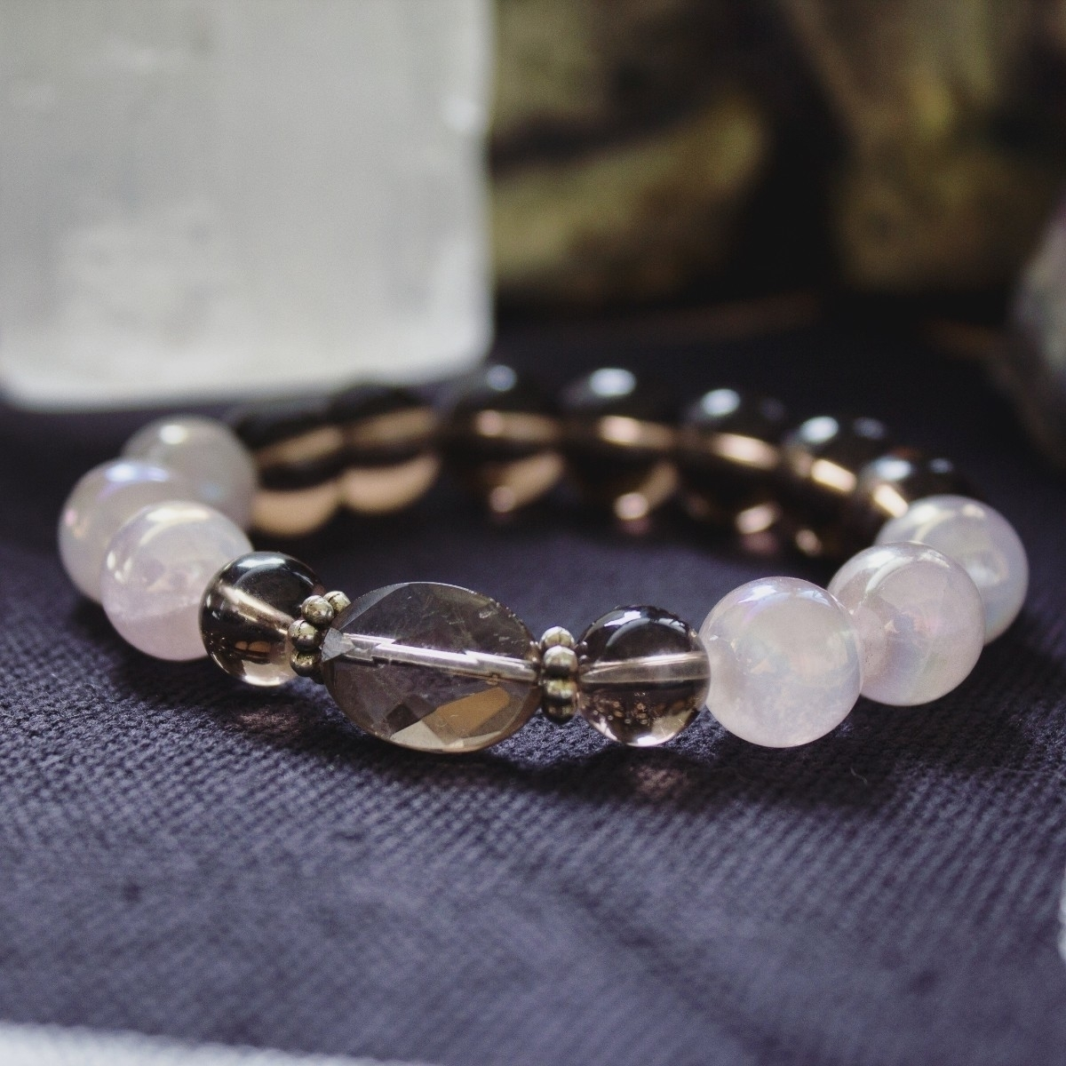 Smoky Quartz Pink Aura bracelet - wildkrystals   ello