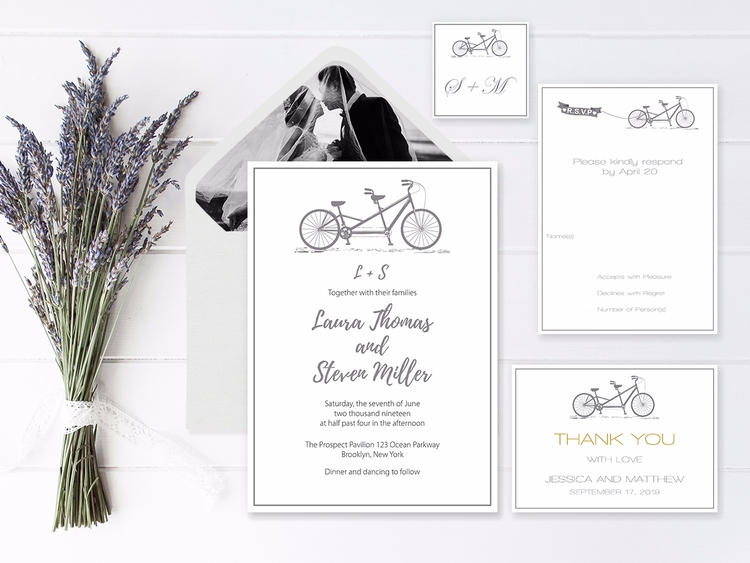 Gray Tandem Bike Wedding Invita - diyprintable | ello