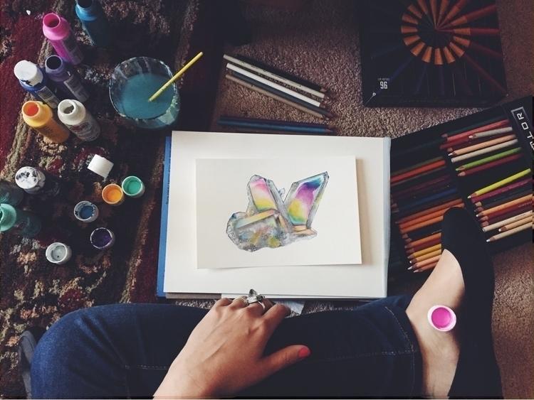 Painting angel aura quartz acry - valeriaprieto   ello