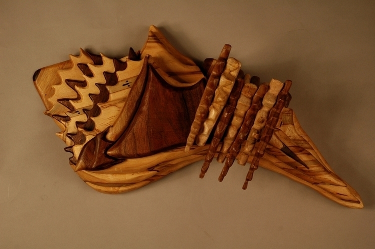 Conch Shell Wood piece inspired - artbykaylabraden   ello