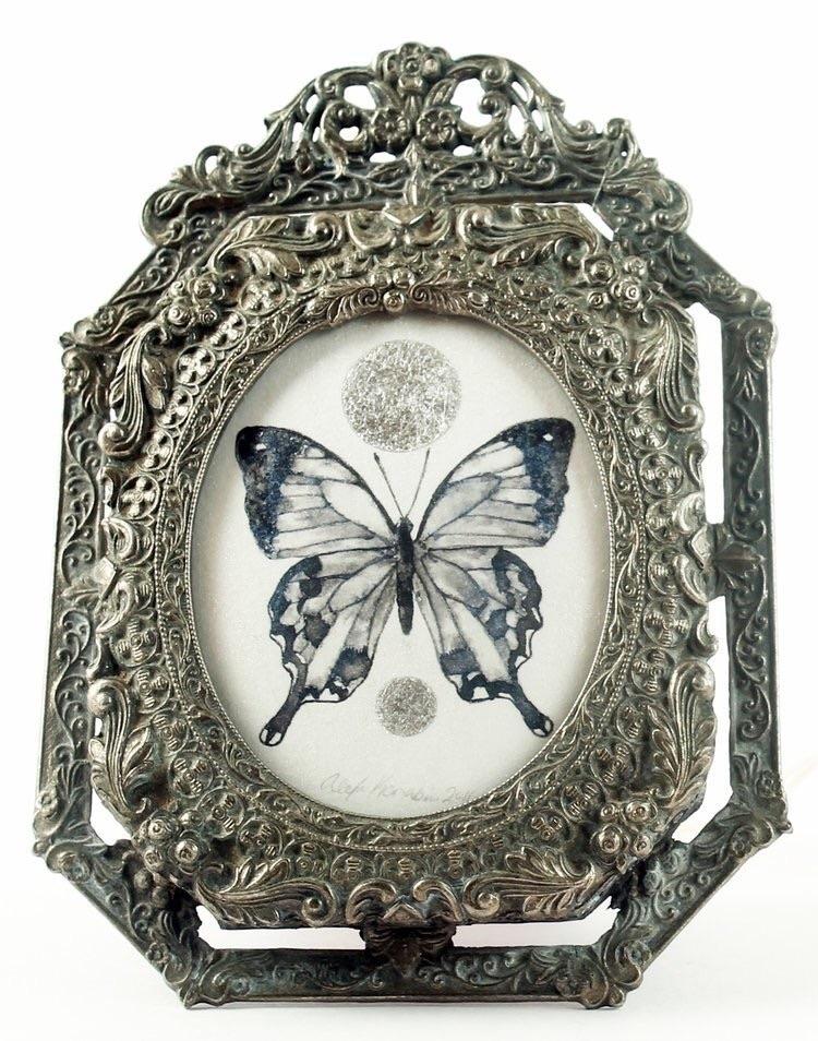 ink, painting, silverleaf, butterfly - alexakarabin   ello