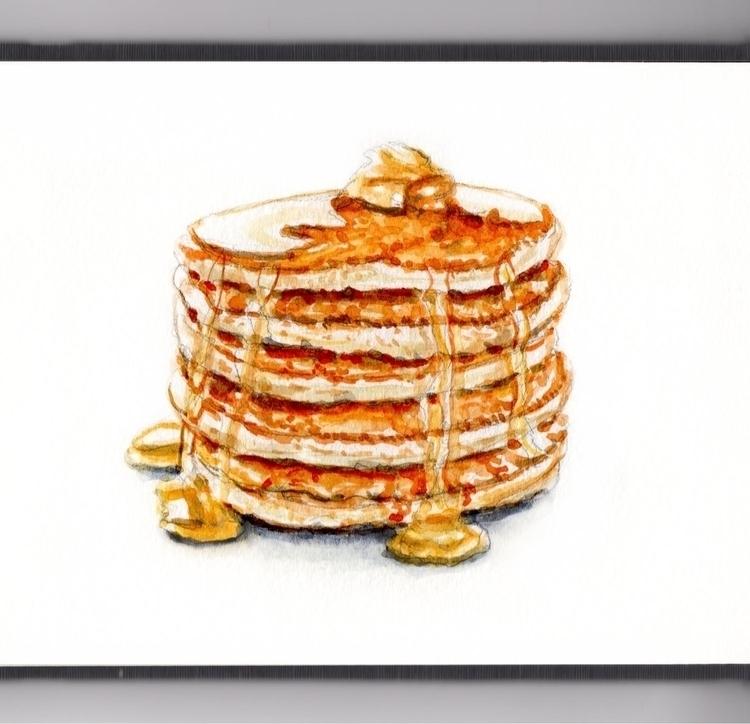 Fluffy Pancakes - watercolor, watercolour - doodlewash | ello