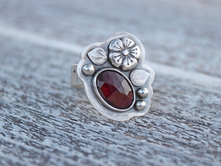 home! garnet ring sterling fine - madisonhousedesigns | ello