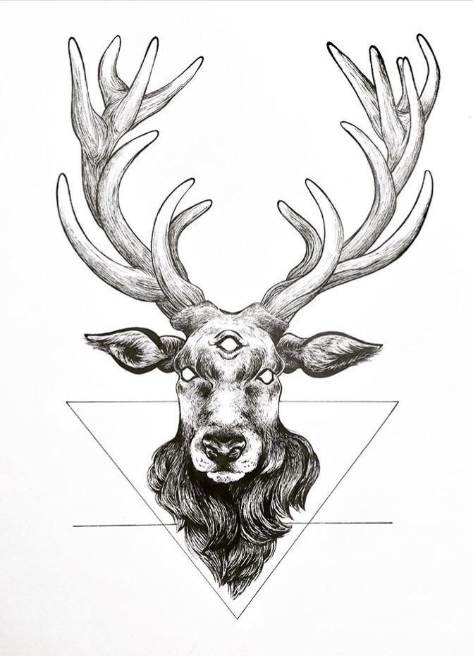 Earth • Stag - art, ink, sketch - nehnelixir | ello