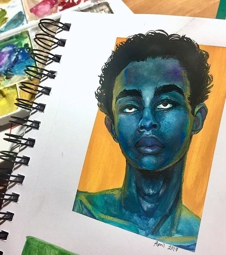 Bleu - art, gouache, watercolor - nehnelixir | ello