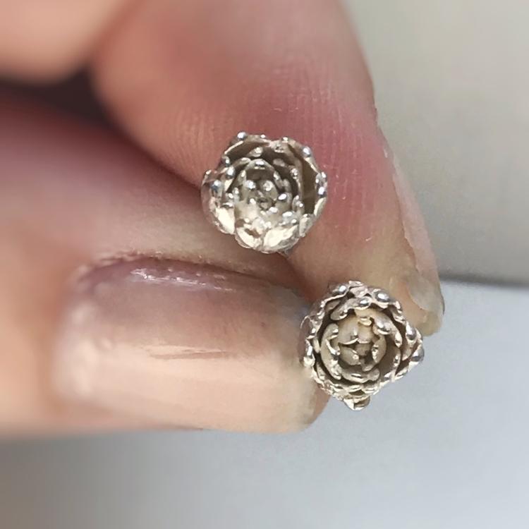 Cast succulent studs silver - rivervalleydesigns | ello