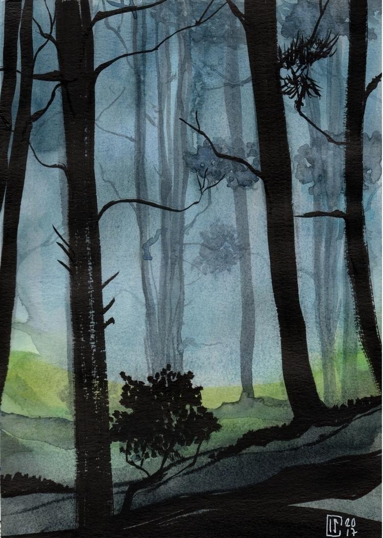 Watercolor Ink mannen-mouhitsu - lcs-illustration | ello
