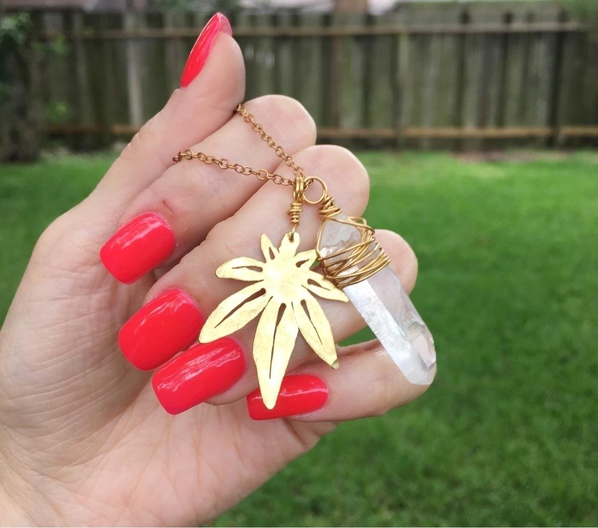 :sparkles:#cannabis charm neckl - asotojewelry | ello