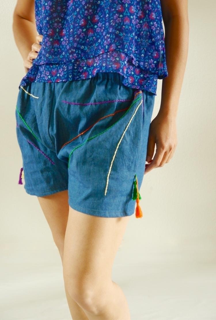 Denim shorts.. summer - embroidery - simplyi   ello