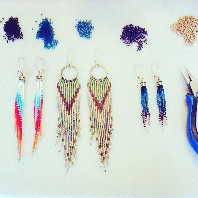 Lovely long fringe earrings. fe - wildhoneypiedesign | ello
