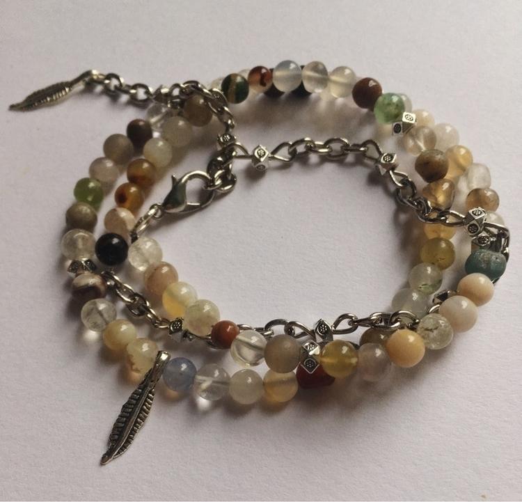 Mini Agate feather charm wrap a - gypsyxjewels | ello